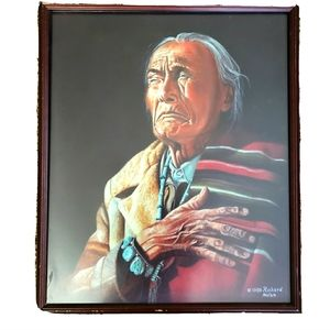 Native American Elder Framed Pastel Portrait